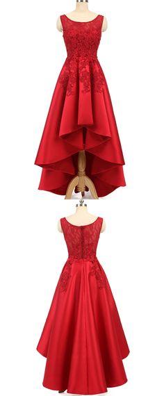 In Stock Pretty Tulle & Satin Scoop Neckline Hi-lo A-line Prom Dresses With Hot Fix Rhinestones & Lace Appliques