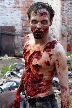 Impressive zombie makeup from The Walking Dead. Zombie prosthetics and accessories The Walking Dead, Walking Dead Zombies, Walking Dead Season, Real Zombies, Zombie Walk, Zombie Life, Zombie Zombie, Horror Makeup, Scary Makeup