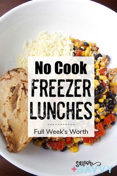 Get a week's worth of no cook freezer lunches to meal prep. Use these tip and tricks to save money and eat healthier. Freezer Friendly Meals, Make Ahead Freezer Meals, Make Ahead Lunches, Freezer Cooking, Cooking Recipes, Vegan Meal Prep, Easy Meal Prep, Fajita Seasoning Mix