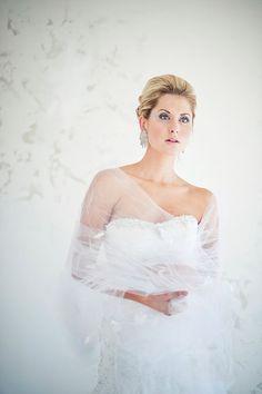 Shawl, Wrap, Bridal Shawl - Tanya Tulle Wedding Shawl/wrap in your choice of colors. $165.00, via Etsy.
