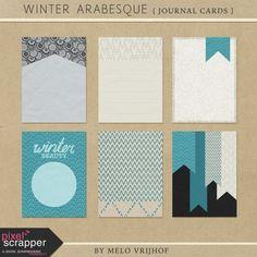 Winter Arabesque - Journal Cards | pocket cards, journal cards, project life, printable, scrapbooking, digital scrapbooking,