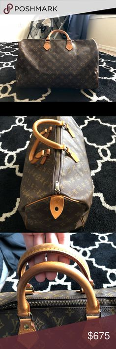 Authentic Louis Vuitton Speedy 40 GENTLY USED AUTHENTIC LOUIS VUITTON. LIKE NEW CONDITION. Outside leather, hardware, and straps are in excellent condition, no scratches, or stain on the outside of the bag. Inside has a stain on the bottom. DATE CODE: SD861. Poshmark will verify authenticity, I bought this from another seller online and they didn't have the receipt or box. Date code also proves authenticity through Louis Vuitton data system. There are also 40s engraved on the outside leather…