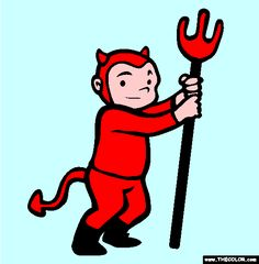 halloween devil costume online coloring page