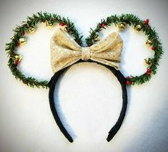 Christmas Jingle Bell Minnie Mouse Ears!  Check out this item in my Etsy shop https://www.etsy.com/listing/573510059/christmas-jingle-bell-mickey-mouse-ears