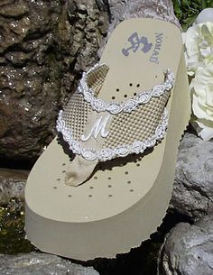 46ddd9737a3321 Platform Initial Bridal Flip Flops for weddings in white and light ivory.  Weddingtennies.com