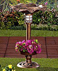 Solar Lighted Birdbath Bird Bath with Planter Bronze NEW Flower Planters, Garden Planters, Garden Art, Garden Ideas, Backyard Ideas, Easy Garden, Flowers Garden, Backyard Patio, Solar Light Crafts