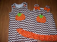 Custom BOUTIQUE Personalized Chevron Halloween Thanksgiving Pumpkin Brother Sister set romper and dress on Etsy, $68.90