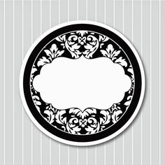Black and White Damasks: Free Printable Toppers and Labels. Vintage Diy, Vintage Labels, Printable Labels, Free Printables, Chanel Party, Round Labels, Bottle Cap Images, Label Paper, White Damask