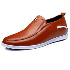 2.4inch / 6cm Slip on taller casual shoes lightweight loafers Brown