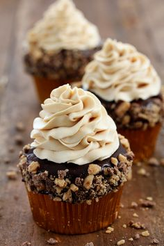 Toffee Crunch Cupcake with Caramel Frosting...now I know how to use those leftover Toffee Chips!