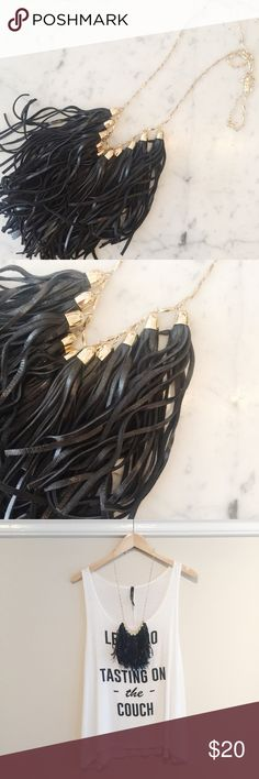 """Bauble Bar leather tassel necklace Bauble Bar necklace with faux leather tassels. Worn only once for a photoshoot. Great condition! Adjustable chain, shown around 20"""". Bauble bar Jewelry Necklaces"""