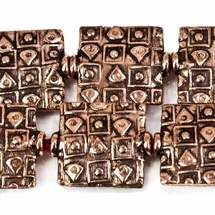 12mm Antiqued Copper Geometric Embossed Square Beads, 8 inch, 15 beads