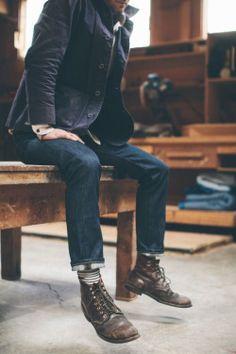 worn in // denim, boots, fall jacket