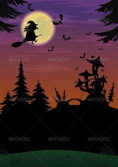 Halloween Landscape with Witch  #GraphicRiver