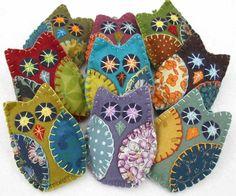 Felt Owl Ornaments, Handmade felt owls in vintage retro colors