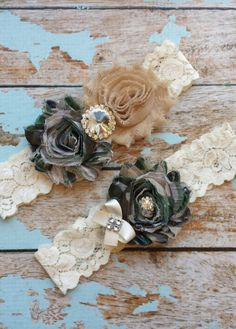 CAMO MILITARY / BEIGE  chiffon -rhinestone center / wedding garter set / bridal  garter/  lace garter / toss garter included /army wedding on Etsy, $19.99