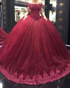 Burgundy Quinceanera Dresses With Appliques Lace Off the Shoulder Sweet 16 Dress Masquerade Prom Ball Gowns Plus Size Vestidos de 15 anos Short Lace Wedding Dress, Wedding Dresses Plus Size, Cheap Prom Dresses, 15 Dresses, Ball Dresses, Gown Wedding, Evening Dresses, Dresses Online, Modest Wedding
