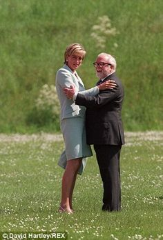 Princess Diana with Sir Richard Attenborough whom she met when Prince Charles asked him to help her write speeches. They became good friends and he attended her funeral.