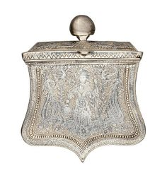 A GREEK DECORATED SILVER CARTRIDGE BOX (PALASKA), DATED 1867 of characteristic form, fitted with domed hinged lid, the reverse with pierced belt loop and engraved with the date, decorated over the outer face with engraved designs heightened with niello, including a female in traditional dress, trophies and exotic birds, the border decorated with foliage, all against a punched ground 12.7 cm; 5 in high