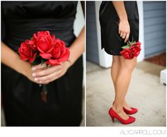 Black dress + Red heals and red roses!