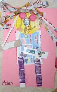 Earth Day art (newspaper cutting and painting collage). Plus FREE Earth Day vocabulary posters! Perfect for preschool, pre-k, or kindergarten. April Preschool, Preschool Themes, Preschool Crafts, Earth Day Projects, Earth Day Crafts, Art Projects, Recycled Crafts Kids, Recycled Art, Recycled Robot