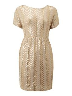 £60 tfnc All over sequin dress with elastic ruched waist Gold - House of Fraser