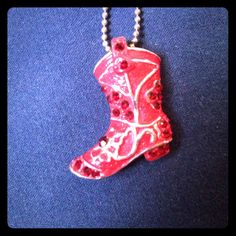 """Red Cowboy Boot Necklace 10"""""""" Long"""