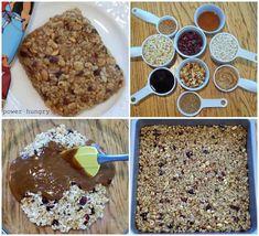 No-Bake hausgemachte Clif Bars (vegan + glutenfrei) – Memphis Clif Bars, Cereal Recipes, Cookie Recipes, Homemade Cliff Bars, Carob Chips, Roasted Almonds, Diy Food, Vegan Gluten Free, Food Print