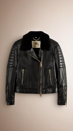 Black Lambskin Biker Jacket with Shearling Topcollar #burberry