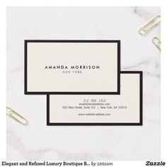 Elegant and Refined Luxury Boutique Black/Ivory Business Card