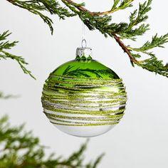 Tinsel-Striped Ombre Ball Ornaments at Crate and Barrel Canada. Discover unique furniture and decor from across the globe to create a look you love. Ball Ornaments, Christmas Tree Ornaments, Crate And Barrel, Winter Beauty, Crates, Holiday Decor, Green Tops, Sparkle