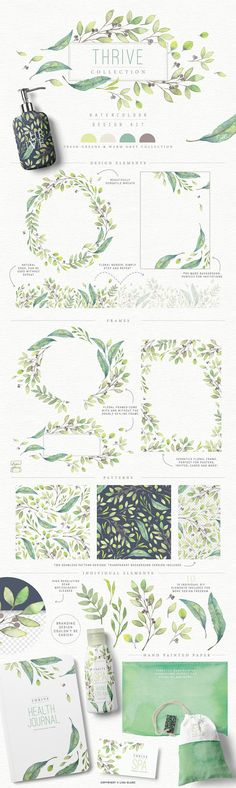 Seamless branding options....4in1 Elegant Watercolour collections by Lisa Glanz on @creativemarket $29