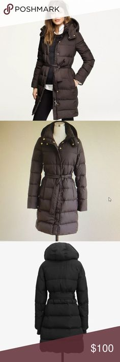 J.Crew Long Belted Down Puffer Coat Jacket XS Like New Condition - Worn only two times  Authentic J.Crew Wintress Long Belted Down Puffer Coat XS  Cold-weather rebel , designed to insulate heal . Waist-nipping belt makes the silhouette flattering .  Down filled poly - hits above the knee - removable hood. Hidden snap closure . Snug knit cuffs . Fleece lined pockets . Lined . Machine wash .  100% Polyester / Fill: Min. Of 60% down / Remainder: waterfowl feathers / lining : 100% Polyester J…