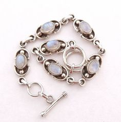 Moonstone Bracelet Sterling Silver by DaisysCabinet on Etsy