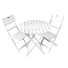 Tea Time White Bistro Folding Set