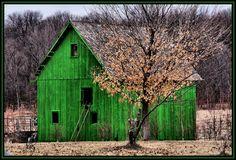A little green barn**