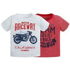 Set de dos camisetas lisa y de rayas Rojos
