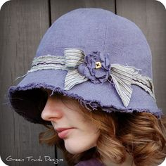 Lavender Linen Cloche Hat by GreenTrunkDesigns on Etsy