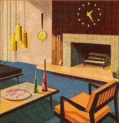Sweetness! mid century design illustration c. 1960s    This is the coolest pic. I had to repair a big chunk of damage to it so it's a little off. no info can be found on this image. I would kill to find out where it originates from. If anyone knows, please hook me up.