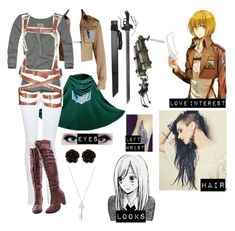 """""""Attack on Titan oc 3"""" by gglloyd ❤ liked on Polyvore featuring Miss Selfridge, Hollister Co., Levi's and Erica Lyons"""