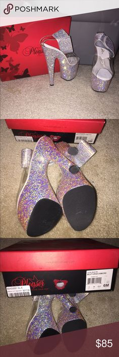 NEVER WORN Sparkly Bling Heels New in box Never worn Original box  Message me for more information Pleaser Shoes Heels