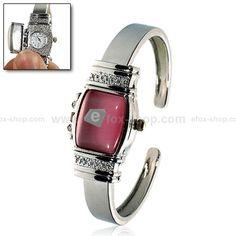 Quarz Armbanduhr mit Deckung für Frauen (rosa)