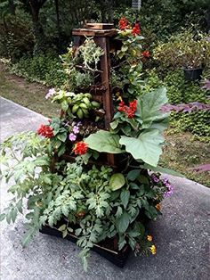 Ship from USA Garden Planter Vertical Wall Garden Wooden Earth Tower Wheels Outdoor Yard Decor ITEM NO8YIFW81854150551 * You can get more details by clicking on the image.