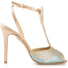 Charlotte Olympia Siren Stiletto Sandals (€645) ❤ liked on Polyvore featuring shoes, sandals, heels, metallic, stiletto heel sandals, strappy sandals, t strap shoes, strap sandals and metallic strappy sandals