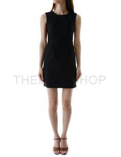 (WEYD03-BLACK) Womens Slim Fit Crew Neck With Back Zipper Vent Sleeveless Dress