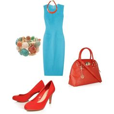 Turquoise and Red, created by vitzi60 on Polyvore