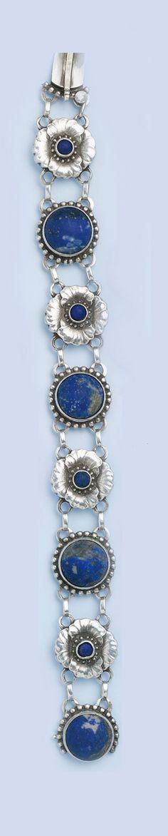 Lapis lazuli and hand-hammered sterling silver  bracelet. Georg Jensen, Denmark