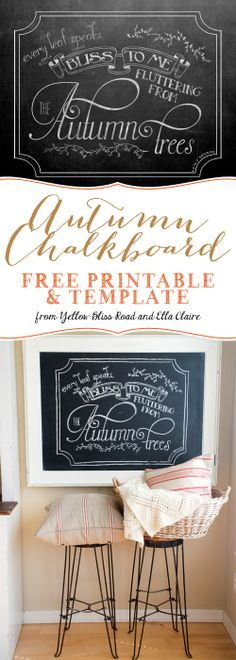 Yellow Bliss Road: Autumn Chalkboard Free Printable and Template