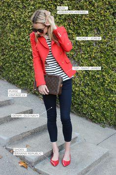 stripes and red blazer