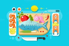 Sea food fish product by Kit8.net on @creativemarket